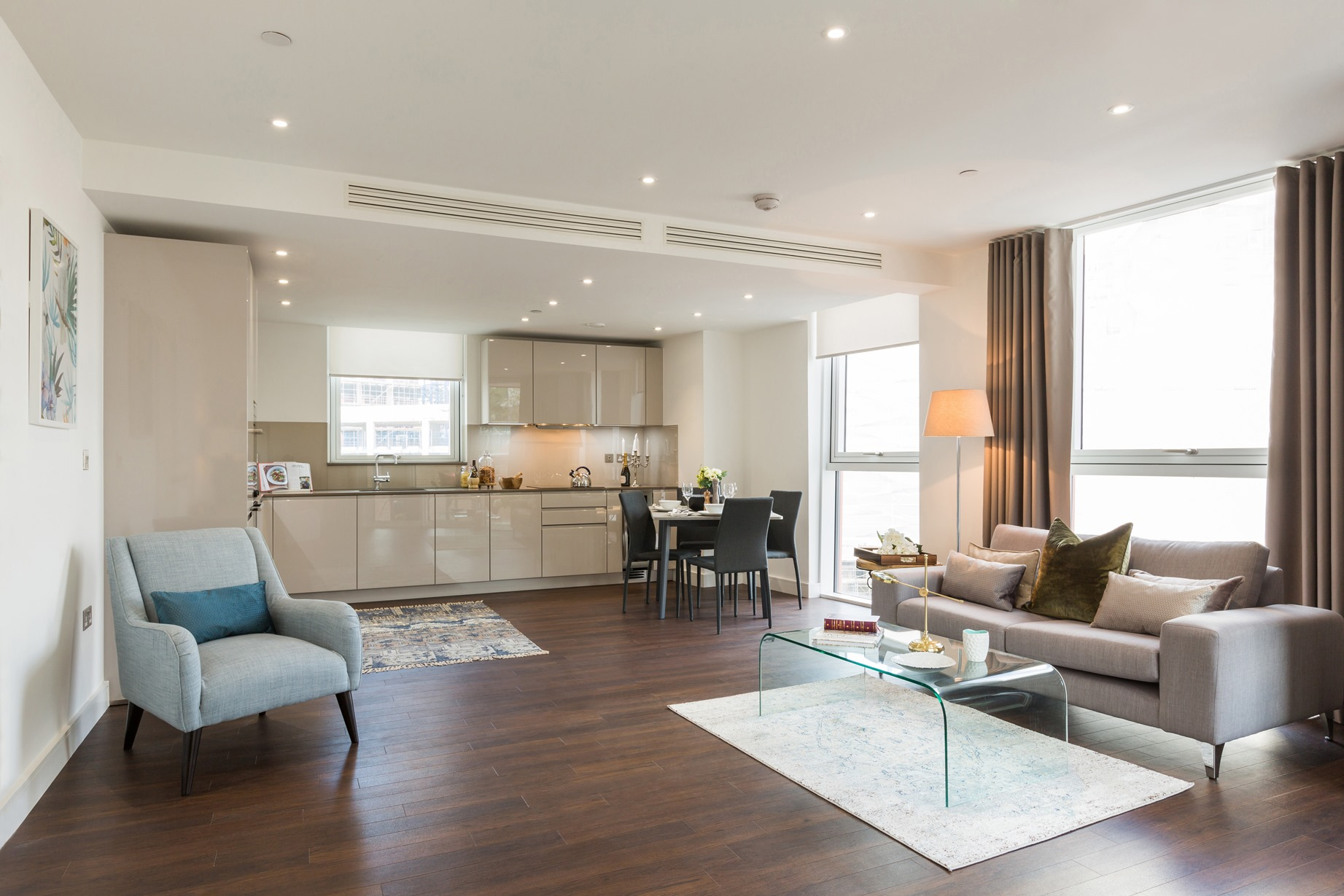 MyLo Nine Elms Point Three Bedroom Apartment Open Planned Living Area